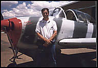Instructor Larry Salganic with the T-34